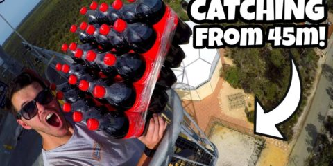 How Ridiculous - CATCHING 25 COCA-COLA BOTTLES from 45m