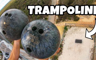 How Ridiculous: 2 Bowling Balls Vs. Trampoline from 45m! (Double Bounce Experiment)