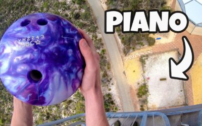 How Ridiculous: Bowling Ball vs. Piano from 45m!