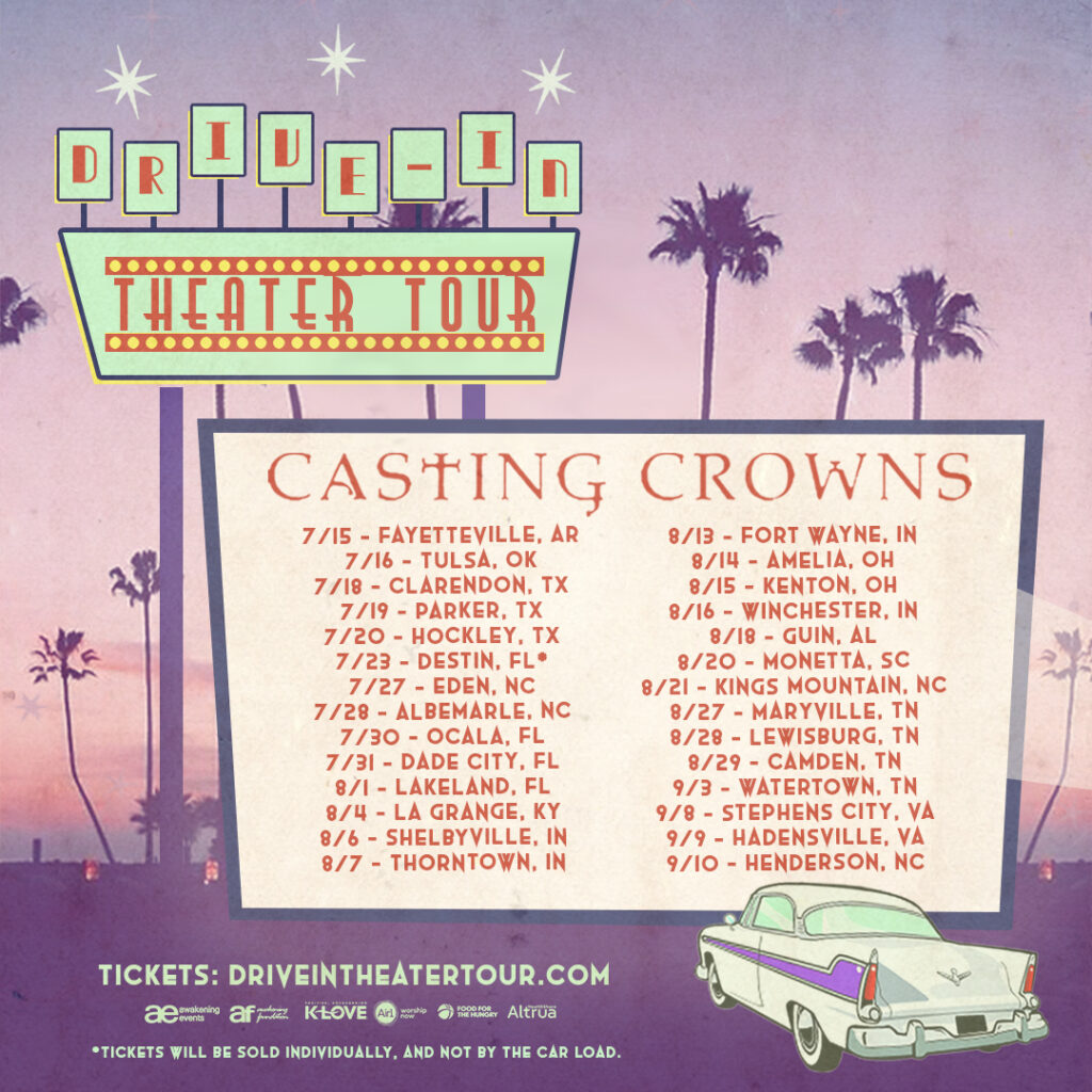Awakening Events Drive-In Theater Tour Series Continues Expansion With Addition of Casting Crowns Tour